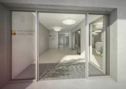 Proplaning-Architektur-Psychiatrie-Baselland-Eingang-morph-3D-Visualisierung