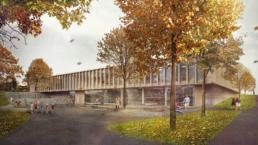 Müller-Verdan-Wettbewerb-Neubau-Mehrzweckgebäude-Alterswil-Eingangssituation-morph-3D-Visualisierung