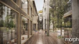 Architekturvisualisierung-Wettbewerb Tribüne +2 in Wien, Neubau vor denkmalgeschützten Tribünen-Innenhof