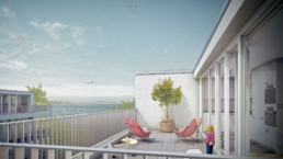 Studie-Wohnungsbau-Horgen-Dachterrasse-morph-3D-Visualisierung