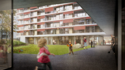 Wettbewerb-Hofackerstrasse-Muttenz-Blaser-Architekten-morph-3D-Visualisierung-Hof-Ansicht