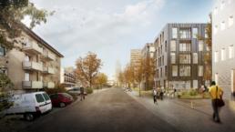 Wettbewerb-Hofackerstrasse-Muttenz-Blaser-Architekten-morph-3D-Visualisierung-Strassen-Ansicht