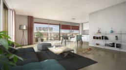 Wettbewerb-Hofackerstrasse-Muttenz-Blaser-Architekten-morph-3D-Visualisierung-Wohnung