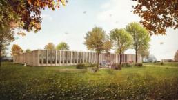 Müller-Verdan-Wettbewerb-Neubau-Mehrzweckgebäude-Alterswil-Aussen-morph-3D-Visualisierung