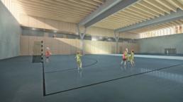 Müller-Verdan-Wettbewerb-Neubau-Mehrzweckgebäude-Alterswil-Sporthalle-morph-3D-Visualisierung