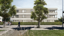 Feusi-Architektur-MFH-Immostate-Rapperswil-morph-3D-Visualisierung-Frontal-Ansicht