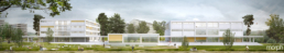 Architektur-Visualisierung-Reto Visini Architekten-Visualisierung Schule Freilager-Gesamtansicht, Schulneubau Wettbewerb Zürich