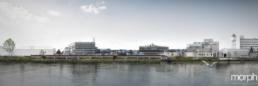 Wettbewerb-Rheinuferweg St. Johann Basel Panorama, Ufergestaltung, morph-Architekturvisualisierung