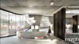 morph 3D-Visualisierung-Wettbewerb Pavillon der Kulturen | Basel-Empfang, Tageslichtstimmung mit Umgebungsdarstellung